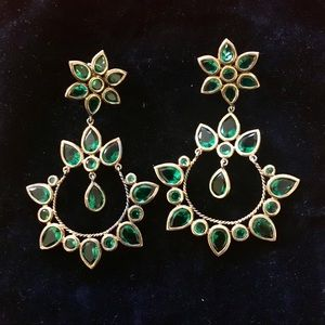Jewelry - Teal green chandelier statement earrings